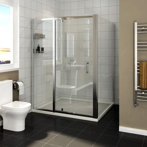 SIRHONA 100x80x185 cm Charnière pivotante pour porte de douche Porte de cabine de douche avec panneau latéral et étagères en verre