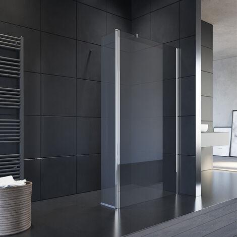 Paroi de douche l'italienne 76 x 190 cm avec panneau de verre de mobile 30 cm Porte de douche avec barre de fixation, 8mm verre trempé, SIRHONA