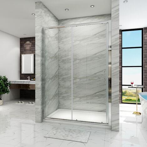 SIRHONA Porte de douche Coulissante 160 cm Porte de douche coulissante réglable - Cadre en aluminium