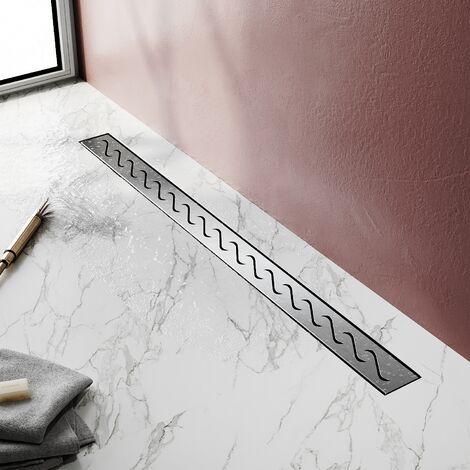Caniveau de Douche en Acier Inox Italienne Siphon Sol d/évacuation /à Carreler pour Salle de Bain-30cm