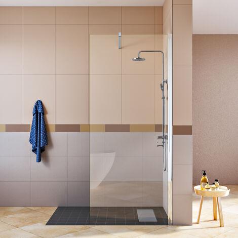 SIRHONA Porte de douche 90x190cm transparente 8mm verre facile à nettoyer, Walk-in avec barre de support, Caniveau de douche et grille pour caniveau 50cm en inox Siphon