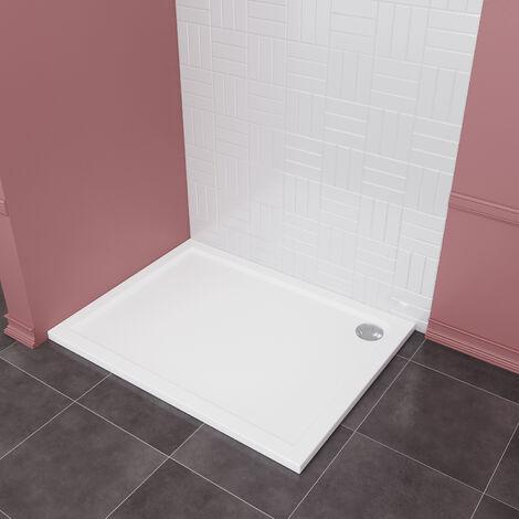 Receveur de Douche Résine 90x120 cm - Rectangulaire - Blanc Extra-plat de 4 cm - Surface Acrylique,SIRHONA