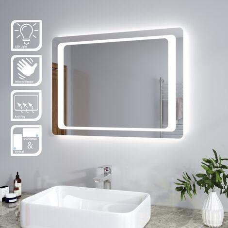 Miroir avec Led 80x60 CM Interrupteur Infrarouge Anti-bu