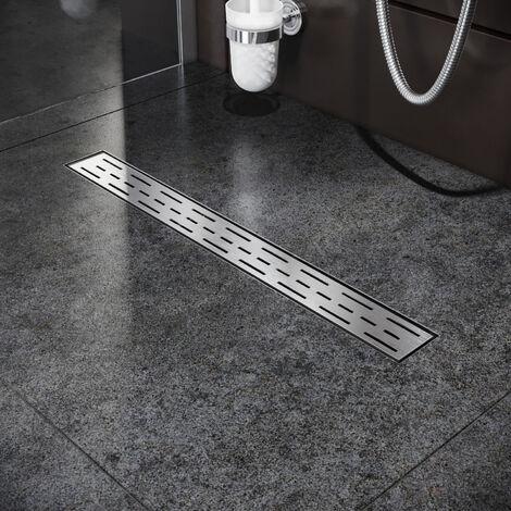 Caniveau de douche (70cm) Inox, Siphon de canal de douche avec pare-odeur et passoire