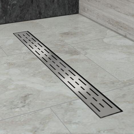 Caniveau de douche (90cm) Inox, Siphon de canal de douche avec pare-odeur et passoire