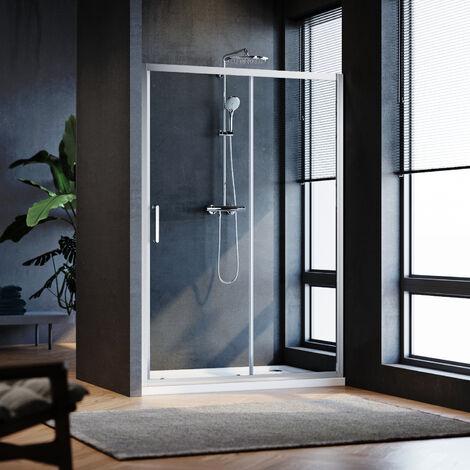 SIRHONA Porte de douche Coulissante 160x185 cm Porte de douche coulissante réglable - Cadre en aluminium - Verre 5MM