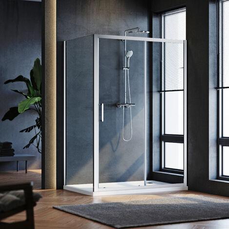 Cabine de douche 140x70x185 cm - verre trempé 5mm - cadre en aluminium - porte extensible - conception réversible