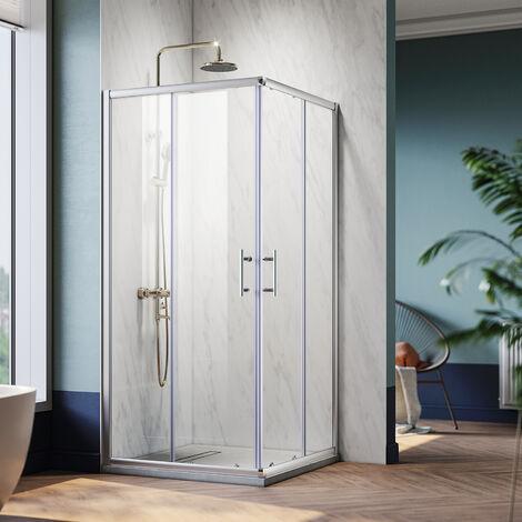 Cabine de douche d'angle Verre Trempé Cadre en Aluminium Installation Réversible Portes coulissantes - 80x90cm - Carrée - Roues Amovibles