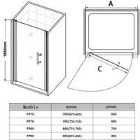 Porte de Douche pivotante 76x185 cm extensible verre tremp