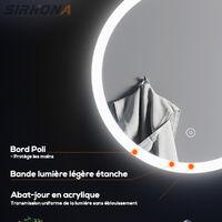Miroir rond led 70x70cm Lumineuse LED Miroir de maquillage anti-buée et an-ti poussière avec capteur tactile,lumière blanche,SIRHONA