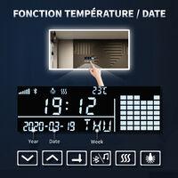 Miroir Lumineux à LED Réglable Intelligent 60x80cm(LxH) Audio Bluetooth | Affichage de l'horloge | Anti-buée | Prise rasoir SIRHONA