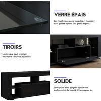 Meuble TV Bas Noir 140x35x50,5 cm - Lumière LED Réglable avec Télécommande - Grande Capacité, SIRHONA