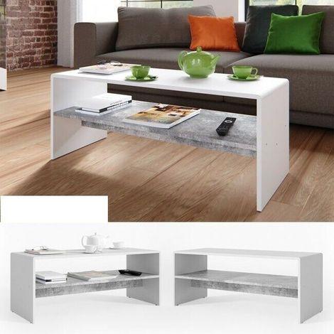 Tavolino Tavolo Da Salotto Da Caffe Con Ripiano Design Moderno Bicolore Colore Principale Grigio E Bianco