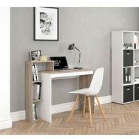 Scrivania ufficio porta pc salvaspazio con 3 scomparti 1 ripiano bicolore colore principale: bianco e rovere