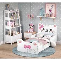 Lettino letto per Bambina 80x160 cm Gattino con Doghe in legno Bianco e Rosa