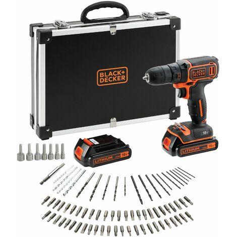 Perceuse-Visseuse sans fil - 18V - 1,5 Ah - 2 batteries - Chargeur inclus - 80 accessoires - Livrée en mallette (BDCDC18BAFC-QW)