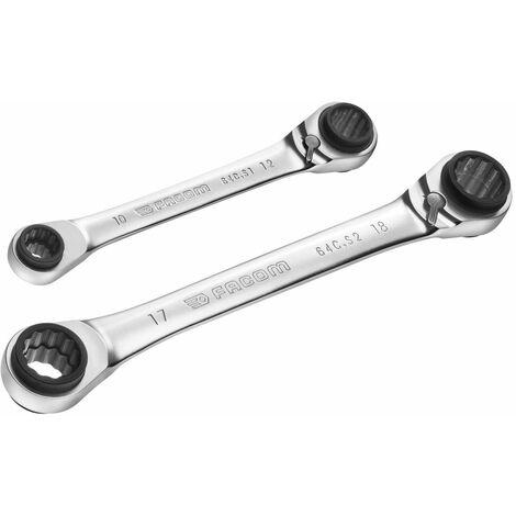 Jeu de 2 clés Cuatro 8.10.12.13 mm / 16.17.18.19 mm FACOM 64C.J2PB