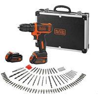 Perceuse-Visseuse sans fil - 12 V max (= tension nominale de 10,8 V) - 1,5 Ah - 2 batteries - 100 accessoires (BDCDD12BAFC-QW)