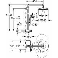GROHE Euphoria SmartControl Système de douche Euphoria 260 avec mitigeur thermostatique chrome