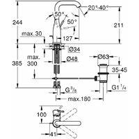 GROHE Essence mitigeur monocommande lavabo taille L avec bec orientable chrome