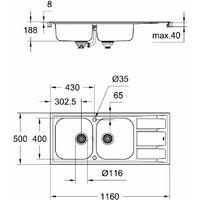 GROHE Evier en acier inoxydable K400