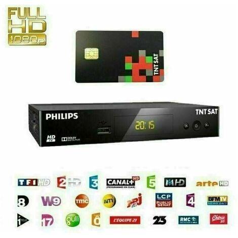 Récepteur PHILIPS DSR 3231T , Démodulateur Satellite HD TNTSAT, Noir, Haute définition + carte TNT SAT