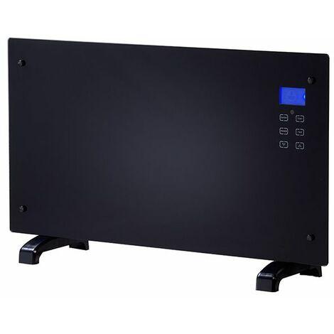 radiateur décoratif 2000w noir avec télécommande - ef068 - cheminarte