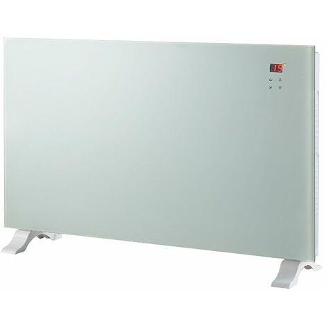 radiateur décoratif 2000w blanc avec télécommande - ef091 - cheminarte