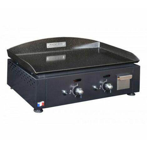 plancha gaz 5500w plaque acier émaillé 59x38cm - kcp60g - kitchen chef