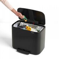 poubelle à pédale 36l noir mat - 121463 - brabantia
