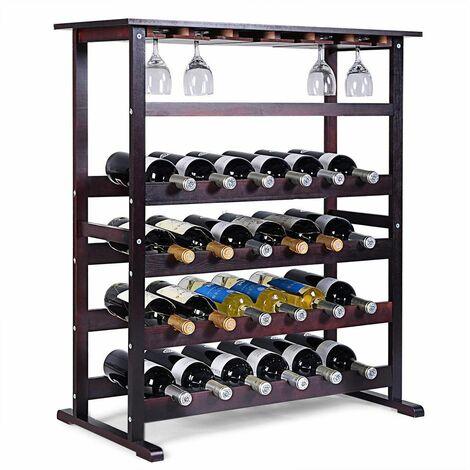 Portabottiglie scaffale di Vino in Legno da 24 Bottiglie, Marrone Scuro, 80 x 41 x 90,5cm