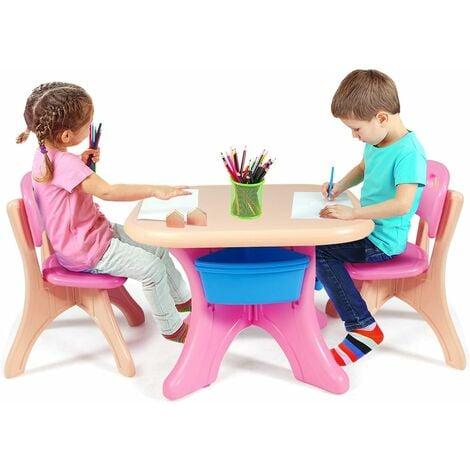 Rosa Cocoarm Gruppo di posti a Sedere per Bambini Tavolo per Bambini con sedie Tavolo per Bambini e sedie per Bambini Tavolo Multifunzionale in MDF Set di sedie da scrivania