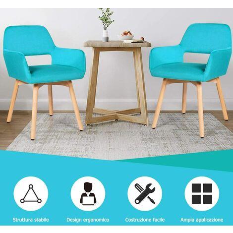 Set Di 2 Sedie Per Sala Da Pranzo Moderne Sedia Con Bracciolo Seduta E Schienale Imbottiti