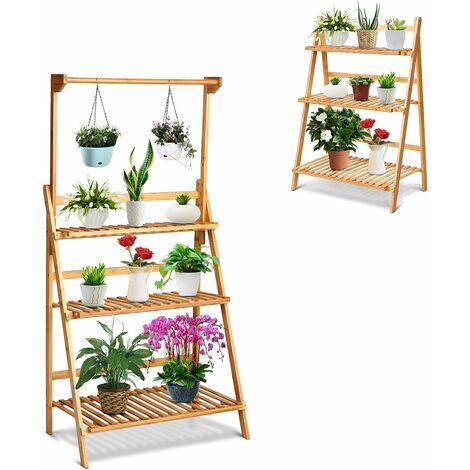 Scaffale Portafiori Mensola a 3 Ripiani, Porta Piante da Esterno, Espositore Vasi per Giardino, 70 x 40 x 144 cm, bambu