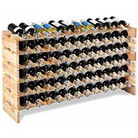 Portabottiglie di Vino in Legno Scaffale per 72 Bottiglie di Vino, 119 x 29 x 71,5 cm