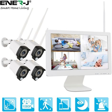 """All-in-One Wireless CCTV Home Surveillance System, 1080P 8CH Wireless NVR with 15.6""""LCD Monitor,4PCS 2.0 Megapixel Waterproof Outdoor Cameras,Audio Recording & PIR Sensor,with 1TB HDD"""