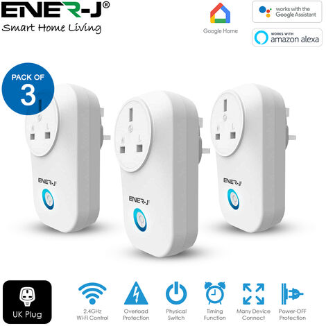 WiFi Smart Plug UK Type with Energy Monitor (3pc pack)