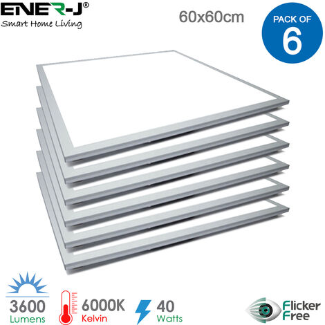 60x60 LED Recessed Ceiling Panels 40W 3600Lm, 6000K with power supply (pack of 6 pcs)