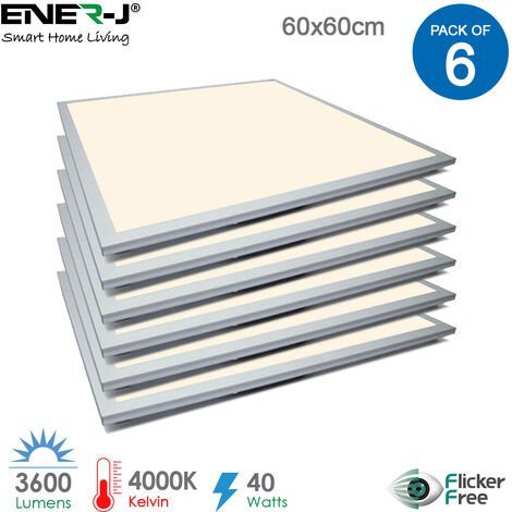60x60 LED Recessed Ceiling Panels 40W 3600Lm, 4000K with power supply (pack of 6 pcs)