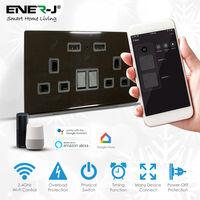 Smart 13A WiFi Twin Wall Sockets with 2 USB Ports (Black)