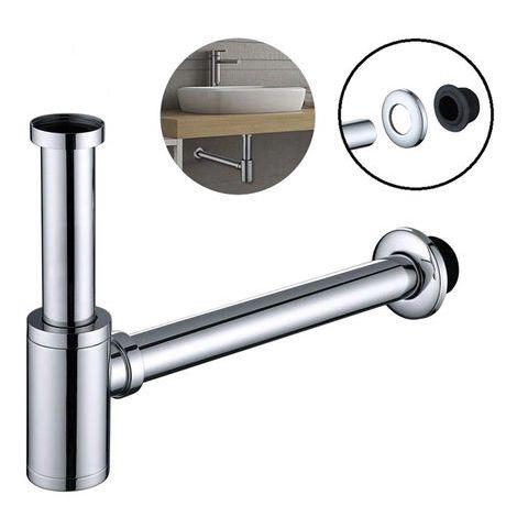 Röhrensifon Siphon Edelstahl mit Geruchsverschluss höhenverstellbar 1-1/4 für Waschbecken Waschtisch