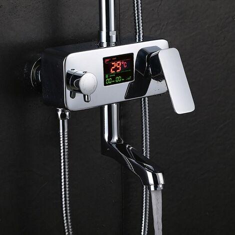 3Wege LED Duscharmatur Wasserhahn mit Temperaturanzeige Wasserfall Regenduschset