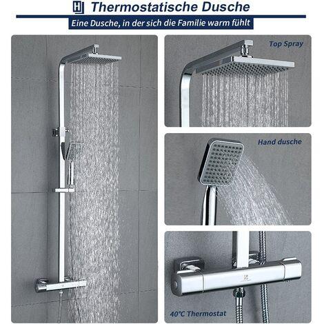 Thermostat Duschset Duschstange Duscharmatur Brause Duschkopf Regendusche Chrom