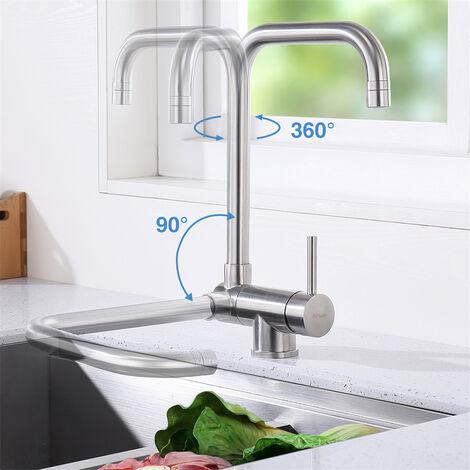 Küchenarmatur Klappbar mit 2 Strahlarten Wasserhahn Spültischarmatur Vorfenster