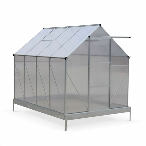 Serra da giardino CHENE in policarbonato 5m² con base, 2 lucernari, grondaia, Policarbonato 4mm - Trasparente