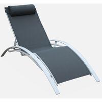 Coppia di lettini prendisole, in alluminio - Louisa, colore: Grigio/Bianco - Sdraio in alluminio e textilene - Bianco