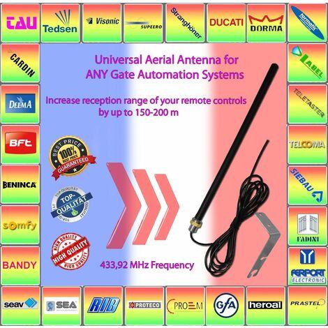 X2 compatible avec SOMFY LEB TMW4 Antenne aerienne universelle 433,92 MHz, augmentez la portee de reception de vos telecommandes