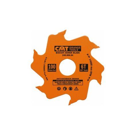 Lame carbure 100 mm CMT pour fraiseuse à lamelles / lamello 6 dents