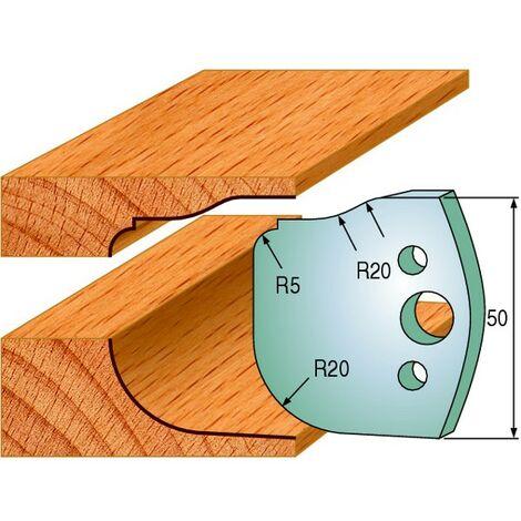 577 : Jeu de fers double plate bande ( 50 x 4 mm ) porte outils toupie