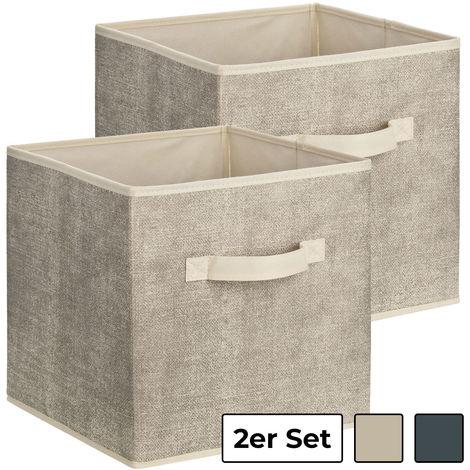 Aufbewahrungsbox aus Stoff, quadratisch, 30 x 30 x 30 cm:2er Set beige/grey